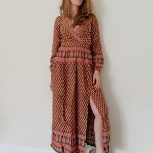 RAGA Avah Split Front Boho Maxi Dress XS